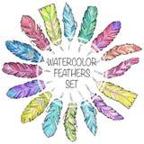 Sistema de plumas dibujadas mano de la acuarela del bosquejo Fotografía de archivo