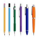 Sistema de plumas y de pensils Fotografía de archivo libre de regalías
