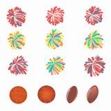 Sistema de pom-poms multicolores Imagen de archivo