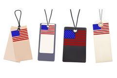 Sistema de precios en blanco con la bandera de los E.E.U.U. Fotografía de archivo libre de regalías