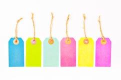 Sistema de precios en blanco de papel coloridos Imagen de archivo