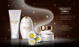 Sistema de producto de belleza de los cosméticos, champú superior para el cuidado de piel, cartel del diseño de la plantilla, pre ilustración del vector