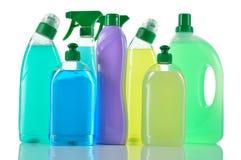 Sistema de productos de limpieza. Limpiadores de la casa. Imagenes de archivo
