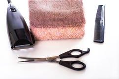 Sistema de productos del cuidado del cabello a las pelo-podadoras Foto de archivo libre de regalías