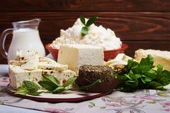 Sistema de productos lácteos de la lechería Fotografía de archivo libre de regalías