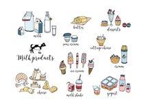 Sistema de productos lácteos dibujados mano Queso, batido de leche, mantequilla, yogur, requesón, crema agria, postres, vaca Vect ilustración del vector