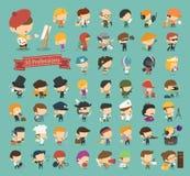 Sistema de 50 profesiones Fotografía de archivo