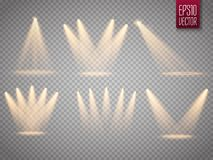 Sistema de proyectores aislados Sun irradia con los haces aislados en fondo transparente Flash de Sun Ilustración del vector ilustración del vector