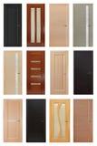 Sistema de 12 puertas de madera interiores Fotos de archivo libres de regalías