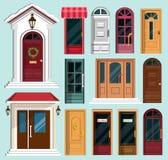 Sistema de puertas principales coloridas detalladas Foto de archivo