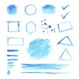 Sistema de puntos azules de la acuarela y de formas geométricas Fotografía de archivo