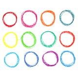Sistema de puntos coloreados del creyón en colores pastel, Imagen de archivo