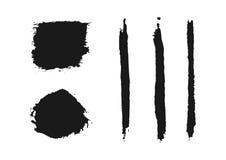 Sistema de puntos y de líneas del grunge Cepillo desigual Imágenes de archivo libres de regalías