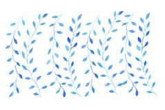 Sistema de ramas azules de la acuarela con las hojas Fotos de archivo libres de regalías