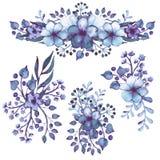 Sistema de ramos de la acuarela con Violet Flowers profunda Imagen de archivo