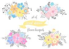 Sistema de ramos dibujados mano de la flor Imagen de archivo libre de regalías