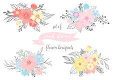 Sistema de ramos dibujados mano de la flor Imagenes de archivo