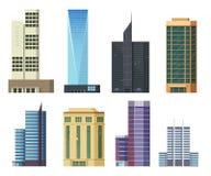 Sistema de rascacielos de los iconos Edificios y casas modernas de la ciudad, ejemplo plano Imagen de archivo libre de regalías