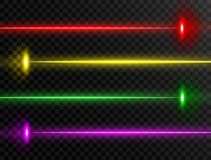 Sistema de rayo láser Colección de rayo láser colorida aislada en fondo transparente Líneas de neón El laser del partido del resp stock de ilustración