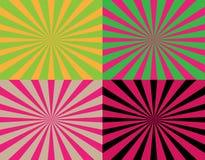 Sistema de 4 rayos rayados abstractos coloridos de fondos de centro Texturas de Starburst ilustración del vector