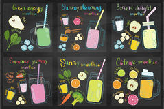 Sistema de recetas del smoothie de las frutas Fotografía de archivo