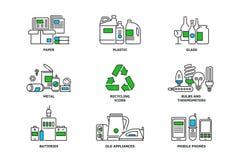 Sistema de reciclar iconos en la línea diseño Recicle los ejemplos planos del vector Papel usado, metal, plástico, vidrio, bulbos stock de ilustración