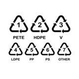 Sistema de reciclar los símbolos para el plástico Fotografía de archivo libre de regalías