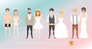 Sistema de recienes casados de los pares en estilo de la historieta imágenes de archivo libres de regalías