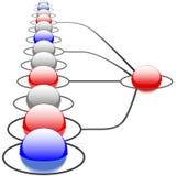 Sistema de red abstracto de las conexiones de la tecnología