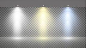 Sistema de reflectores coloreados en un fondo transparente Imagen de archivo libre de regalías