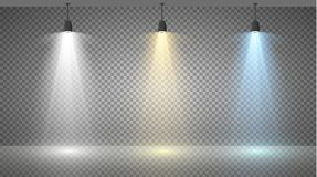 Sistema de reflectores coloreados en un fondo transparente Iluminación brillante con los proyectores El reflector es blanco, azul Fotografía de archivo libre de regalías