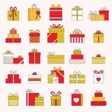 Sistema de regalo y de actuales iconos aislados Fotos de archivo libres de regalías
