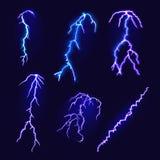 Sistema de relámpagos Relámpago realista en fondo oscuro Ilustración del vector Imagenes de archivo