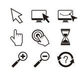 Sistema de reloj de arena del cursor de la mano de los cursores del ratón Foto de archivo libre de regalías