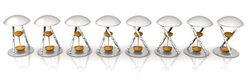 Sistema de reloj de arena transparente para la animación. Fotos de archivo libres de regalías