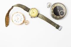 Sistema de relojes del estilo del vintage en el fondo blanco Fotos de archivo