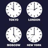 Sistema de relojes que muestran la diferencia de tiempo en zonas de momento diferente Reloj del Timezone Tiempo internacional Ico libre illustration