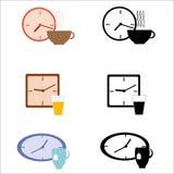 Sistema de relojes y de la bebida Imagen de archivo libre de regalías