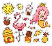 Sistema de remiendos de la historieta, insignia, pernos Little mermaid con el pelo rosado, flamenco, sol stock de ilustración