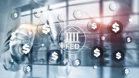 Sistema de reserva federal de FED los E.E.U.U. que deposita concepto financiero del negocio del sistema imágenes de archivo libres de regalías