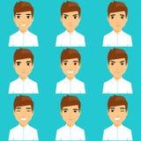 Sistema de retratos de expresar emociones stock de ilustración