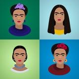 Sistema de retratos de Frida Kahlo stock de ilustración