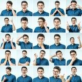 Sistema de retratos del ` s del hombre joven con diversos emociones y gesto fotos de archivo