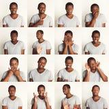 Sistema de retratos del ` s del hombre negro con diversas emociones Fotos de archivo