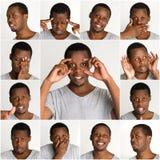 Sistema de retratos del ` s del hombre negro con diversas emociones Fotografía de archivo