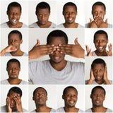 Sistema de retratos del ` s del hombre negro con diversas emociones Imagenes de archivo