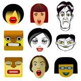 Sistema de retratos divertidos del avatar Foto de archivo