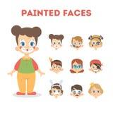 Sistema de retratos felices de los niños con las caras pintadas libre illustration