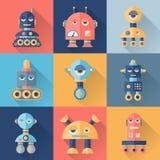 Sistema de robots en estilo plano Imagen de archivo