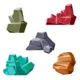 Sistema de rocas y de cristales Estilo plano isométrico 3D de la historieta libre illustration